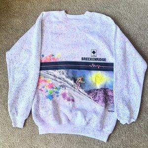 Breckenridge ski sweater with paint splash - RARE